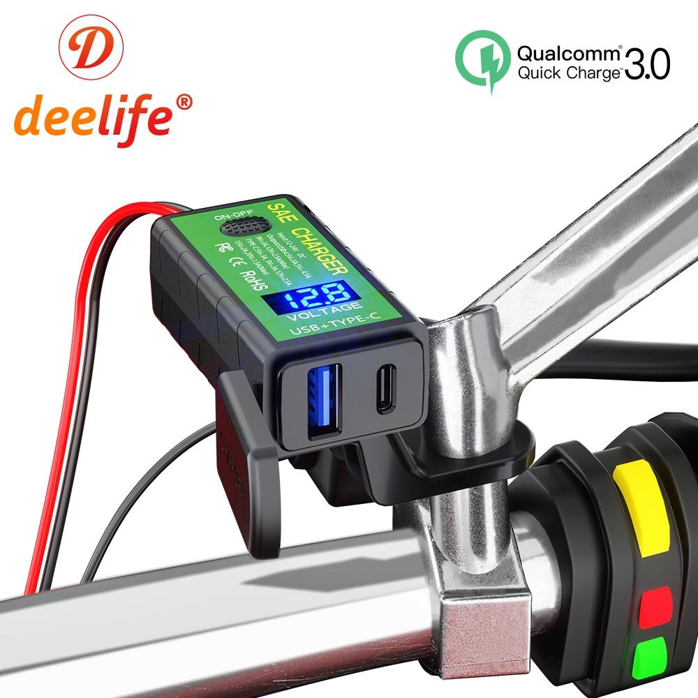 Deelife USB tipo C cargador rápido de la motocicleta 12V 24V SAE impermeable voltímetro de la motocicleta para el zócalo del Motor de la Moto teléfono móvil