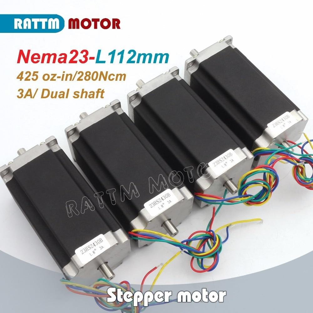 4 قطعة NEMA23 23HS2430B 425Oz-in المزدوج رمح 2.8N.m 112 مللي متر طول محرك متدرج يخطو موتور/3A ل آلة طحن مسيير موجه من خلال الحاسب الآلي