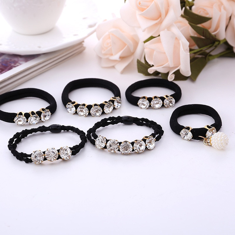 1 piezas de las mujeres Pelo elástico bandas diamantes Scrunchie pelo anillo Color negro mujer de cola de caballo titular adornos para el pelo accesorios