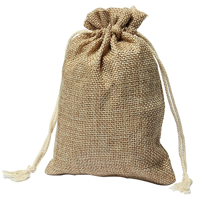 Professional  New Vintage Burlap Jute Sacks Weddings Favor Adjustable Cords Christmas Gift Bags 10 * 15cm