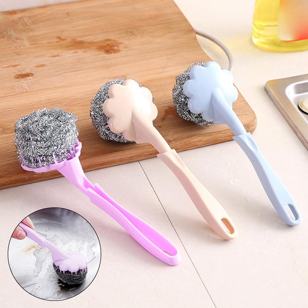 Mango largo hogar cocina alambre de acero olla plato cepillo de limpieza y lavado herramienta