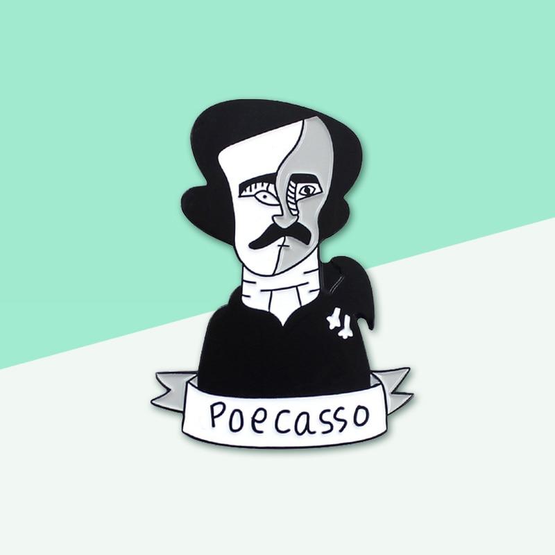 Criativo Escritor Celebridade Retratos Pinos de Edgar Allan Poe POECASSO Esmalte Alfinetes de Lapela Crachá Mochila Jóias Presentes Para Amigos