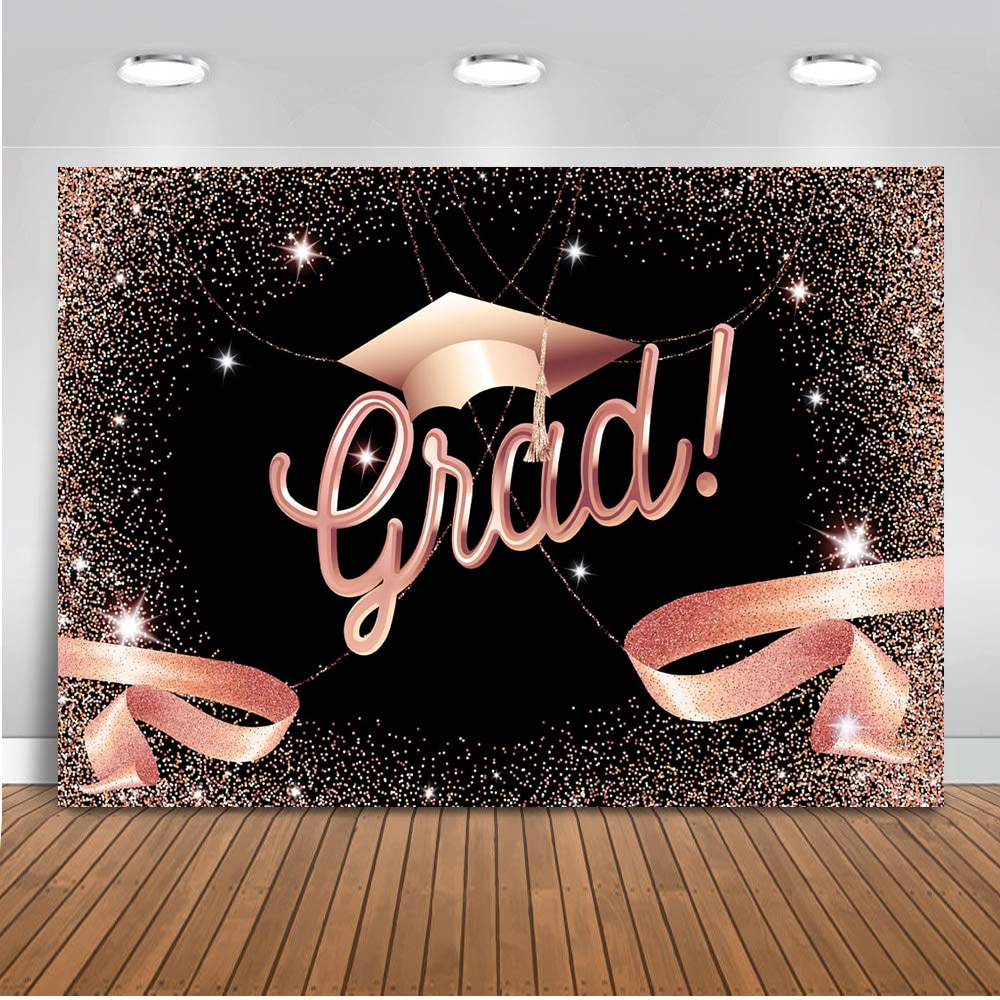 Congrats Grad Backdrop rose gold Graduation prom party class of 2020 banner background for photo studio customize supplies prop