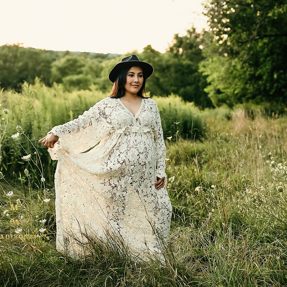 Don&Judy Boho Dress for Photo Shoot Beige Vintage Maternity or Non-maternity Dresses Bohemian Pregnancy Gown Photography Dress enlarge