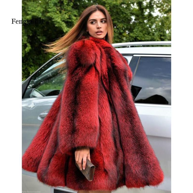 Fengguilai зимнее женское пальто с искусственным лисьим мехом, Женская куртка из натуральной кожи с длинным отложным воротником, роскошное меховое пальто