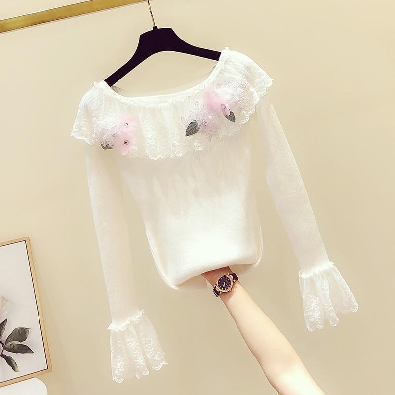 2019 Autumn Winter White Sweater New Korean Lace Lotus Leaf Edge Hand-made Flower Slash Neck Knitting Sweater Women Knit Jumpers