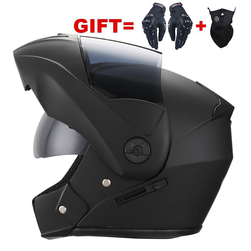 2 Gifts Unisex Racing Motorcycle Helmets Modular Dual Lens Motocross Helmet Full Face Safe Helmet Flip Up Cascos Para Moto kask