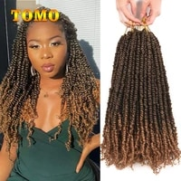 tomo pre twisted passion twist crochet hair 18inch ombre black brown bohemian synthetic twist hair for women 12 roots