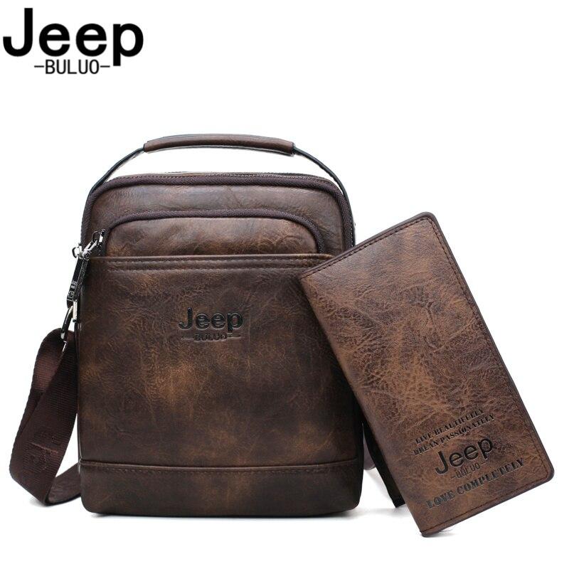 JEEP BULUO Marke Handtasche Schulter Tasche Männer Messenger Taschen Splite Leder 2pc set Crossbody Business tasche Für iPad mini männlichen