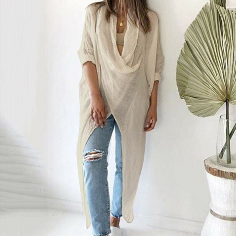 Blusa de talla grande para mujer, blusa holgada de lino de manga larga informal para mujer, blusas tipo túnica de verano para niñas, prendas de vestir OL, S-5XL de talla grande