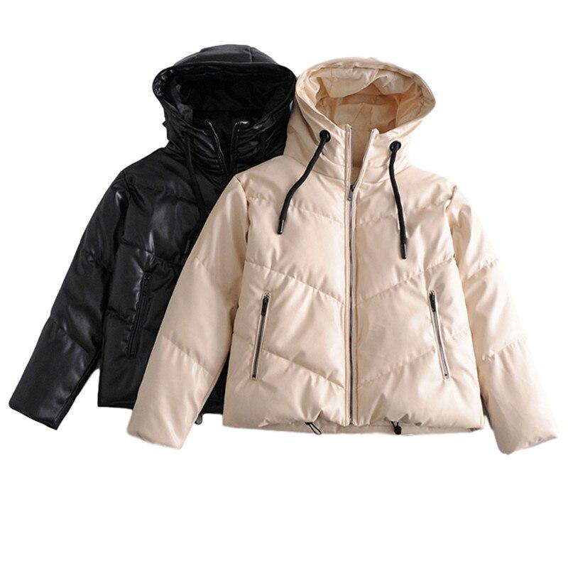 PUWD-معطف نسائي من الجلد والقطن ، معطف غير رسمي ، فضفاض ، بقلنسوة ، عصري ، دافئ ، سميك ، ملابس خارجية أنيقة ، برباط ، موضة شتاء 2020