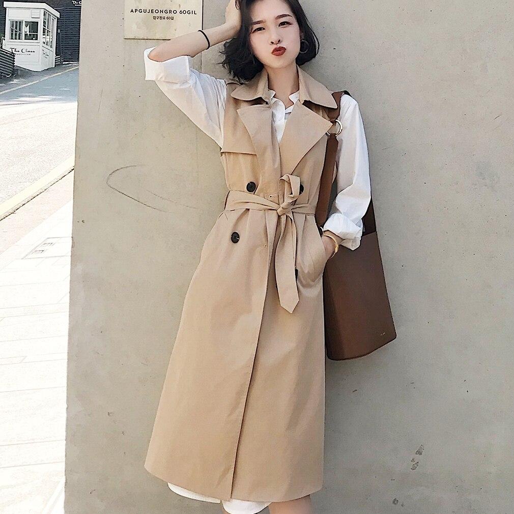Mujer otoño Chaleco de primavera abrigo señora Wear chaleco largo mujer abrigo Casual vendaje sin mangas camiseta sin mangas de Color liso chaqueta de talla grande