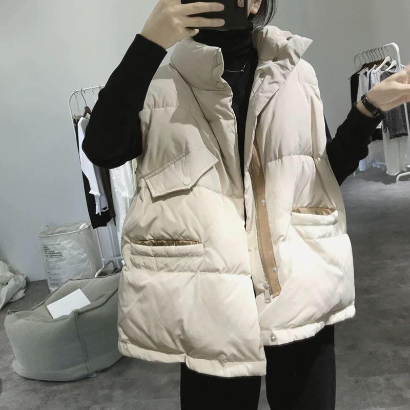 Chaleco de algodón para mujer, chaleco informal sin mangas cálido grueso, chaleco acolchado para mujer, chaleco de gran tamaño suelto para mujer Q2618