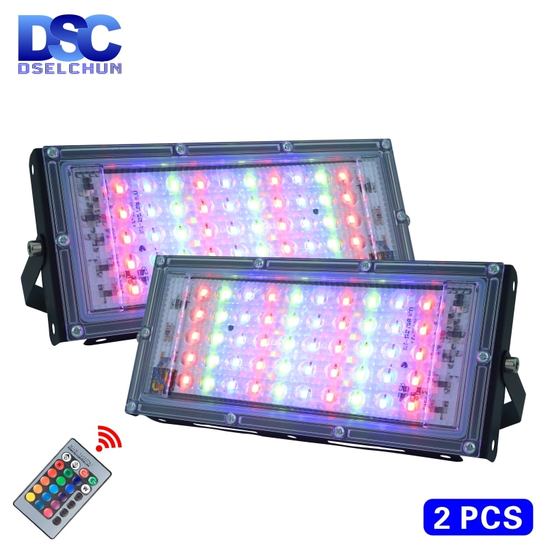 2pcs/lot 50W LED RGB Flood Light Lamp AC 220V Outdoor Floodlight IP65 Waterproof Reflector Led Spotlight with Remote Control