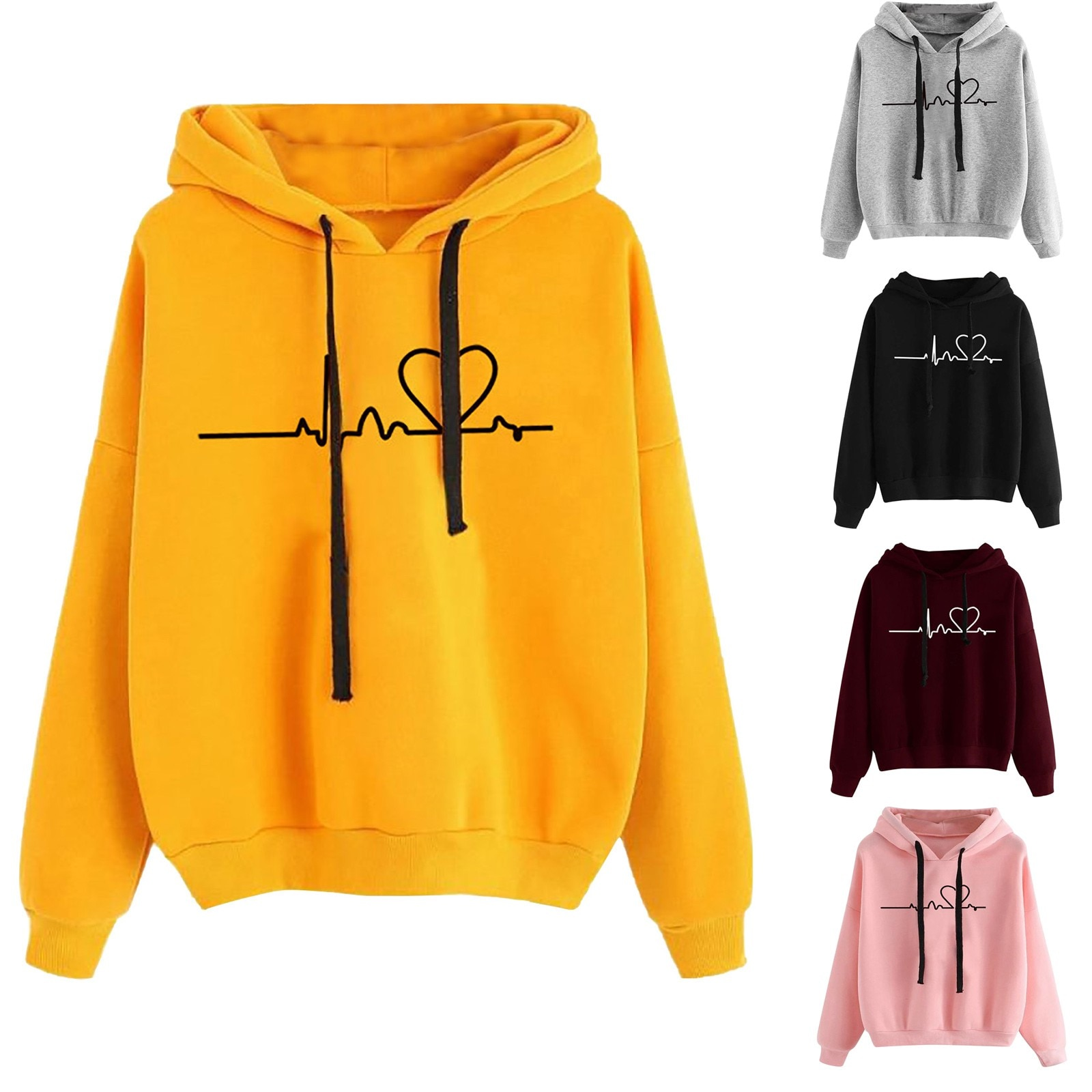 2020 Fashion Women Sweatshirt Casual Love Printsudadera mujer Women's Autumn Winter Hoodie Sweatshir