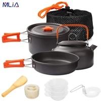 mlia camping cookware kit outdoor aluminum cooking set water kettle pan pot traveling hiking picnic bbq tableware equipment