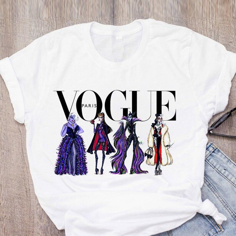 Camiseta de mujer de dibujos animados maléfica Vogue reina malvada villana corona de verano para mujer ropa para mujer