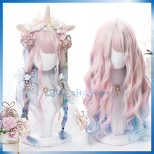 Gradual Pink Blue Mixed Color Lolita Wig Harajuku Sakura Sweet Long Curly Synthetic Hair Fringe Bangs Adult Girls Pink Hair