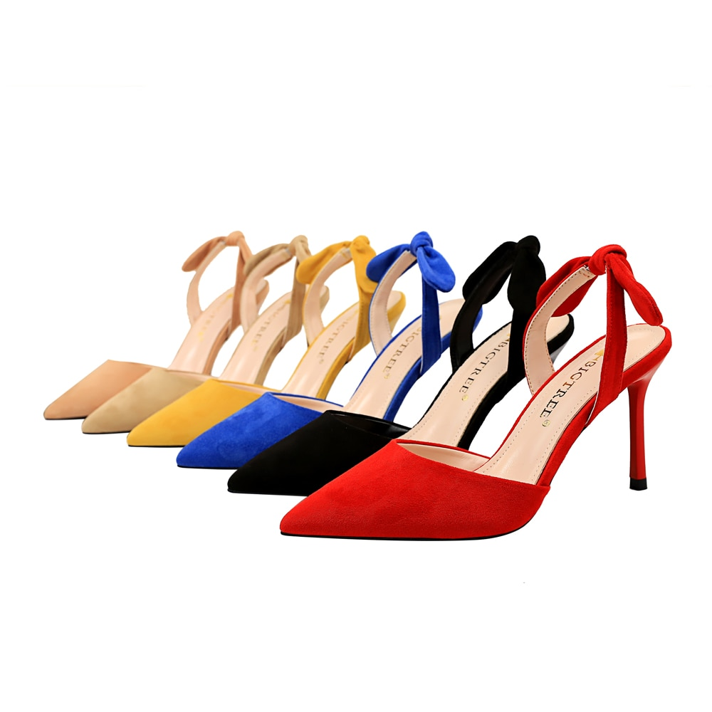 Dünne High Heels Schuhe Frau 2020 Frühling Sommer Slip Auf Schuhe Frauen Flock Slingback Feste Punkt Toe Heels Sandalen Weiblichen pumpen