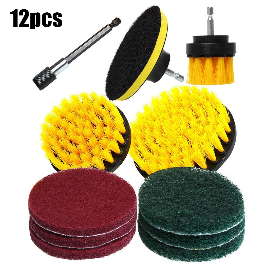 12 In1 Drill Brush Electric Attachment Set Drill Scrubber Brush Kit Power Scrubber Cleaning Scrub Cleaner Power Tool Accessories недорого