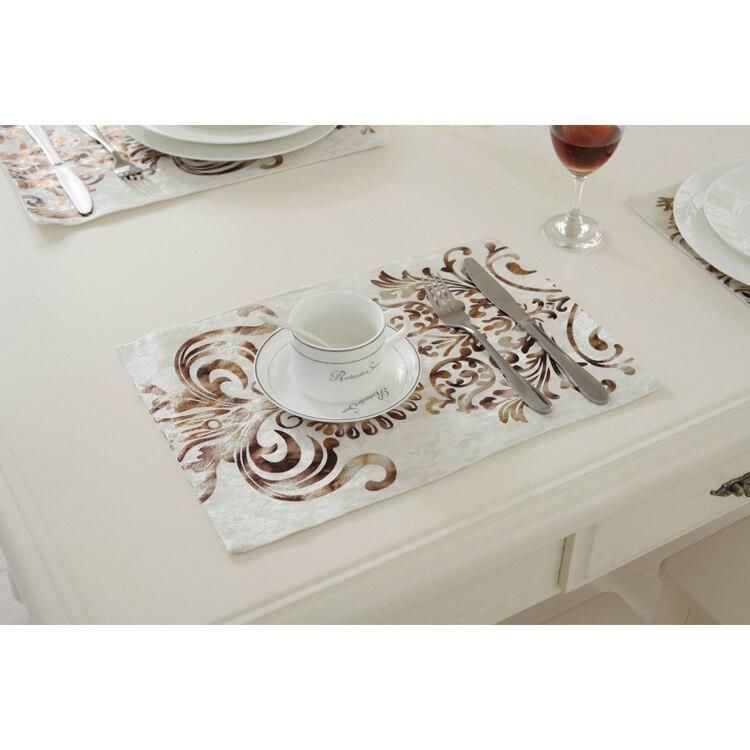 26X38Cm moda europea Simple bronceado Velour mantel/lujo neoclásico boda decoración servilleta manteles 2 unids/set