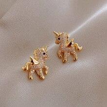 2021 New Cute Animal Stud Earrings for Women Temperament Horse Kitten Owl Pearl Rhinestone Earring G