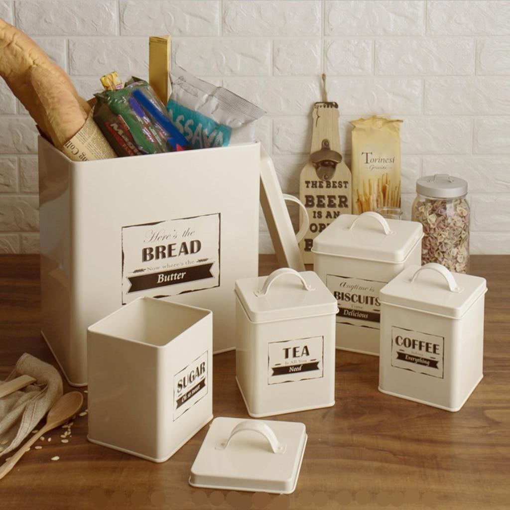 5 قطعة حاويات تخزين الطعام محكم المعادن الحبوب حاويات بأغطية ، لتنظيم مخزن المطبخ والتخزين