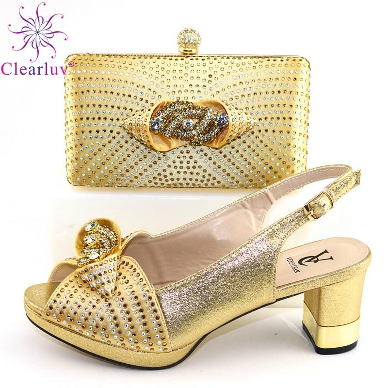 Zapatos y bolsos de nuevo modelo en Color dorado de VC, tacones cómodos para oficina, zapatos y Bolsa de reuniones para mujer, estilo Sexy para fiesta