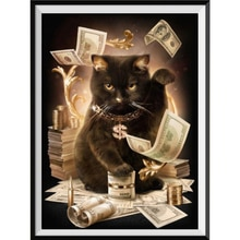 5D Diamond Painting Money Black Cat Animal Diamond Inlay Embroidery DIY Round Cross Stitch Home Decoration New Year Gift