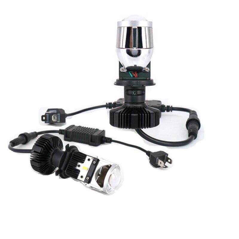 2pcs H4 led Mini Bi-led Projector Headlight Lens 55W 6000K led H4 Headlamp Car Styling High Low Spotlights 12v 24v adjusting