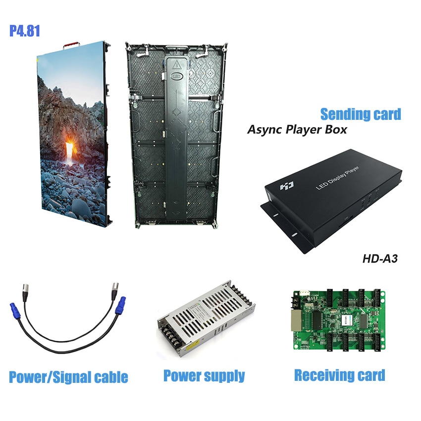 2pcs 500x1000mm 104*208dots die cast aluminum cabinet P4.81 Indoor rgb led display screen and 1pcs HD A3 Controller