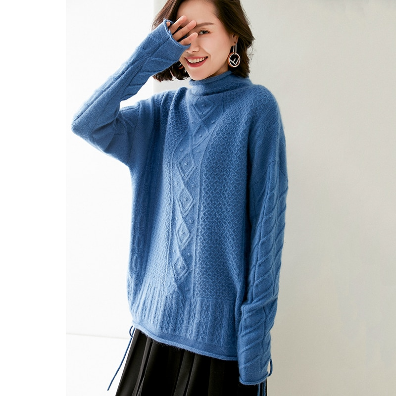 adohon 2020 woman winter 100% Cashmere sweaters autumn knitted Pullovers High Quality Warm Female thickening Turtleneck enlarge