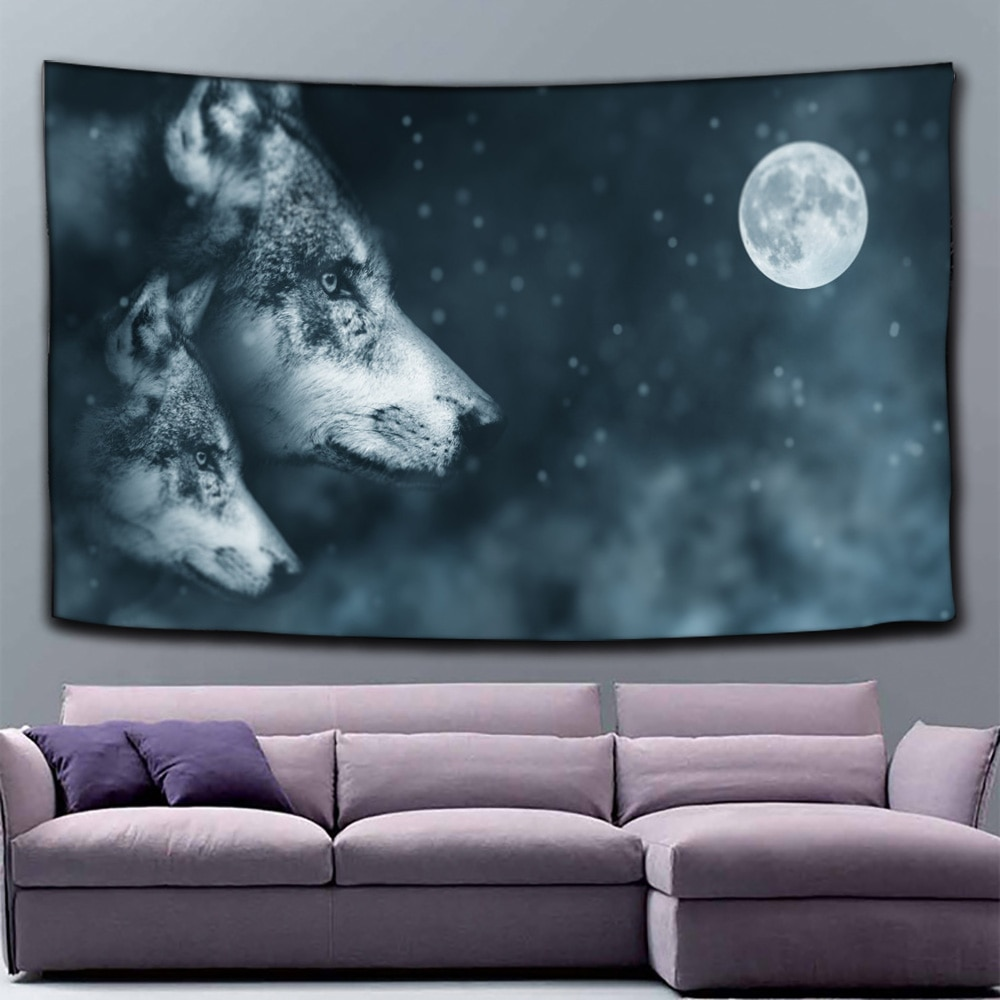 Wolf Moon Tapestry Stars Bohemian Night Psychedelic Wall Carpet College Dorm Decor Wall Hanging psychedelic brick dorm decor wall hanging tapestry