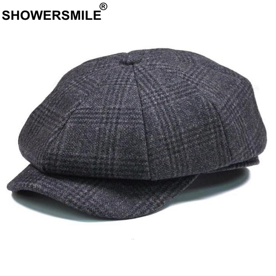 SHOWERSMILE брендовая клетчатая кепка Newsboy, Мужская винтажная шерстяная восьмиугольная кепка, Мужская теплая зимняя шапка художника, Серая шапка...