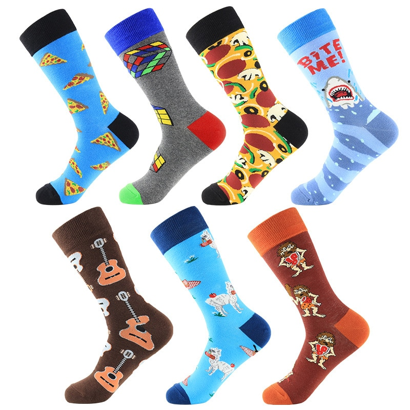 Nuevos calcetines divertidos de primavera para hombre, calcetines de Jacquard transpirables con patrón de cubo de guitarra de tiburón y queso de dibujos animados de colores, talla 39-46