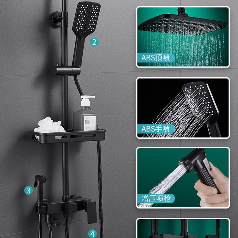Head Rain Black Shower System Bath Tap Bathroom Shower Set Brass Faucet New Luxury Big Shower Ceiling Supercharge Sprinkler Sink