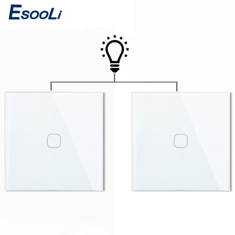 Esooli الاتحاد الأوروبي 1 عصابة 2 طريقة الجدار ضوء كونترولر الذكية أتمتة المنزل التبديل اتصال التبديل للماء ومانعة للحريق 2 عصابة