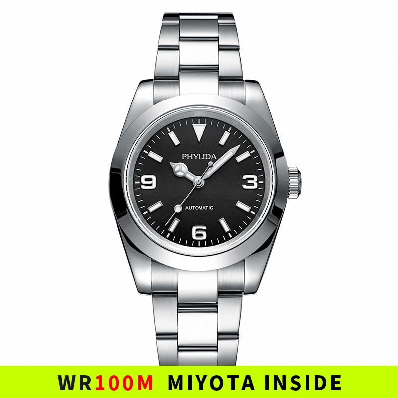 39mm Automatic Mechanical Luxury Watch Explorer Homage Black Dial 100M Water Resistant