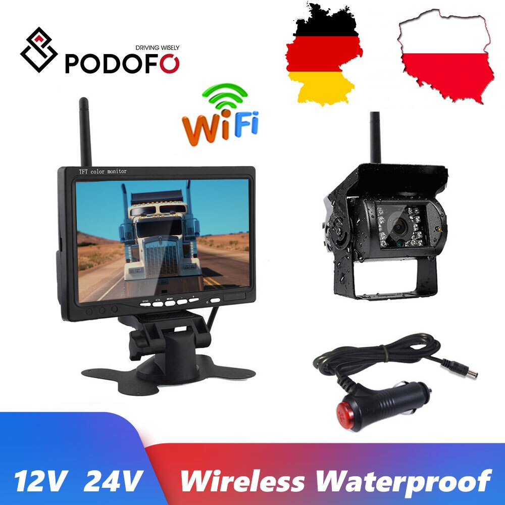 Review Podofo 7″ HD 12V 24V Wireless LCD Vehicle Backup Rear View Camera Monitor Car Charger For Trucks Bus RV Trailer Excavator