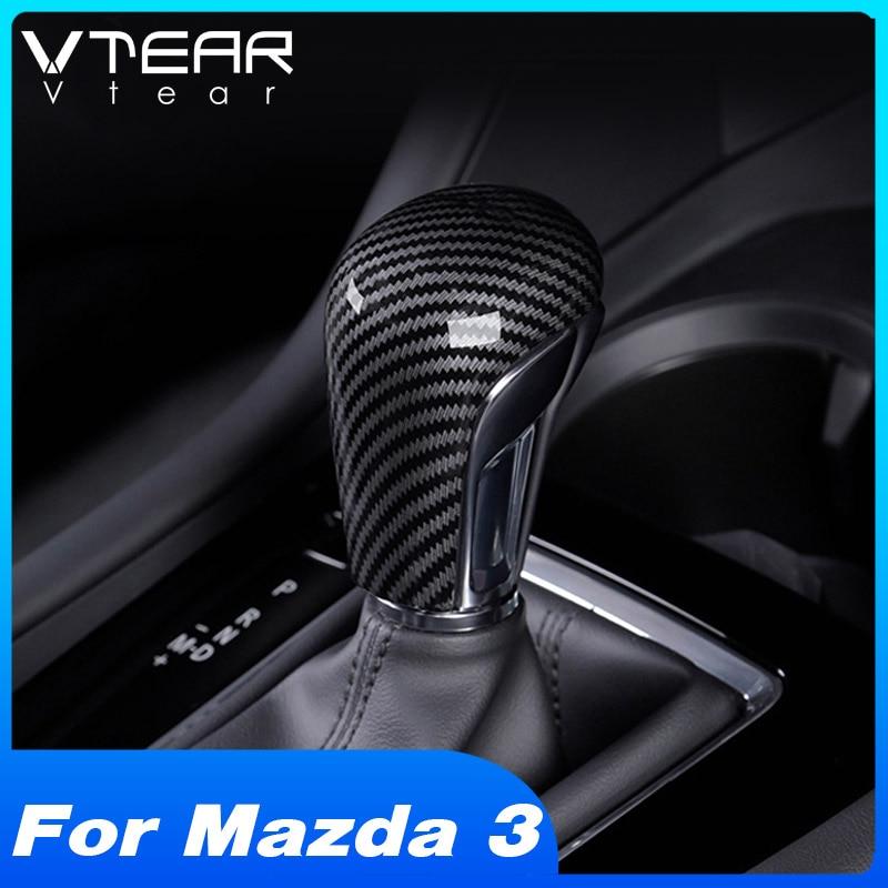 Vtear для Mazda 3 2019 2020 аксессуары для интерьера карбоновая ручка переключения передач накладка на головку наклейки для автомобиля/ABS