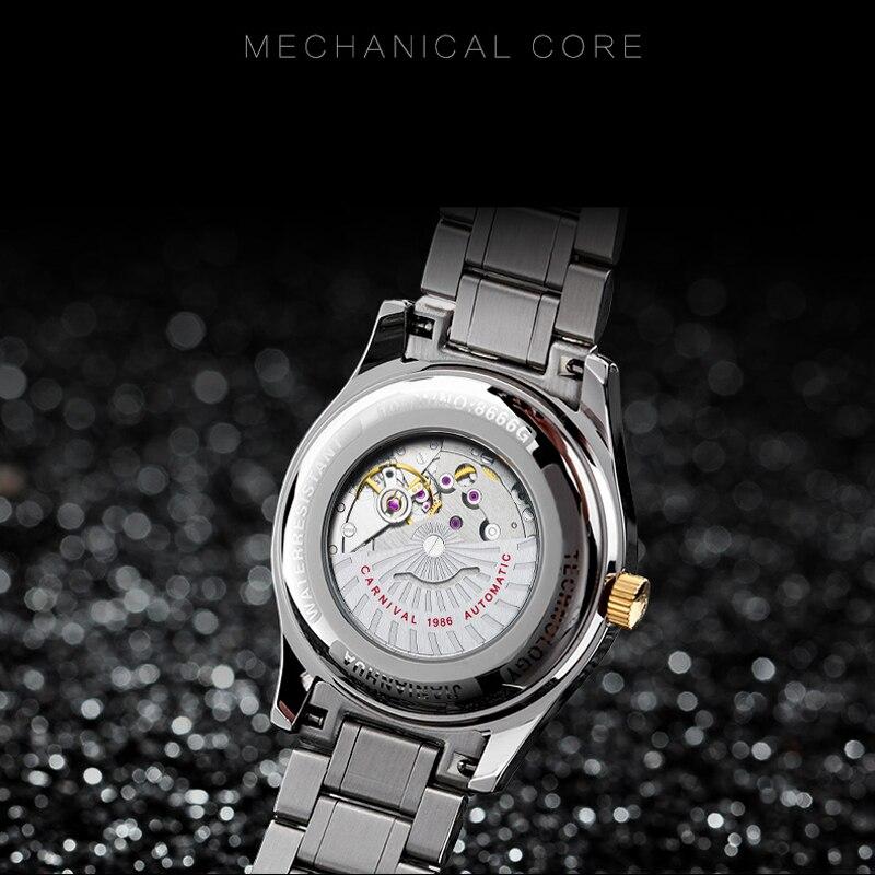 CARNIVAL Top Brand Gold Automatic Watch Men Fashion Business Mechanical Wristwatches Waterproof Calendar Clock Relogio Masculino enlarge