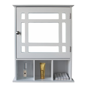 Bathroom Cabinet with Single Door Three Compartment Storage and Nickel plated handle White Easy To Install[US-W]