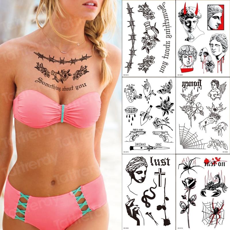 6 pièces nouveau chinois temporaire ensemble de tatouage tigre papillon fleur bras tatoo bouddha geisha tatouage mangeur de mort tatouage faux tatto corps