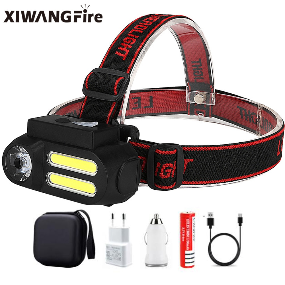 XIWANGFIRE COB Led Fishing Headlight Use 18650 Battery Headlamp 4-speed Adjustable Headlight Flashlight Torch Camping Head Light