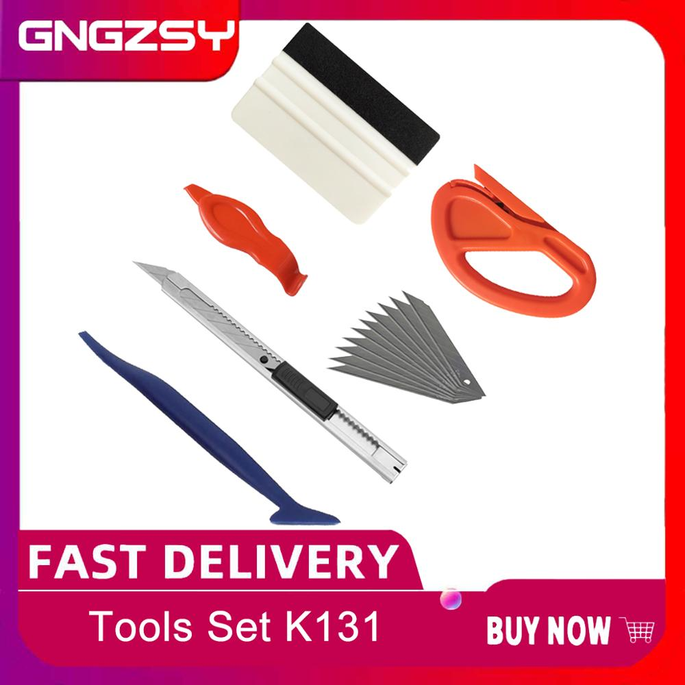 6 in 1 Vinyl Wrap Tools Car Interior Accessories Kit Stick Squeegee Scraper Carbon Fiber Film Sticker Cutter Repair Tool K131