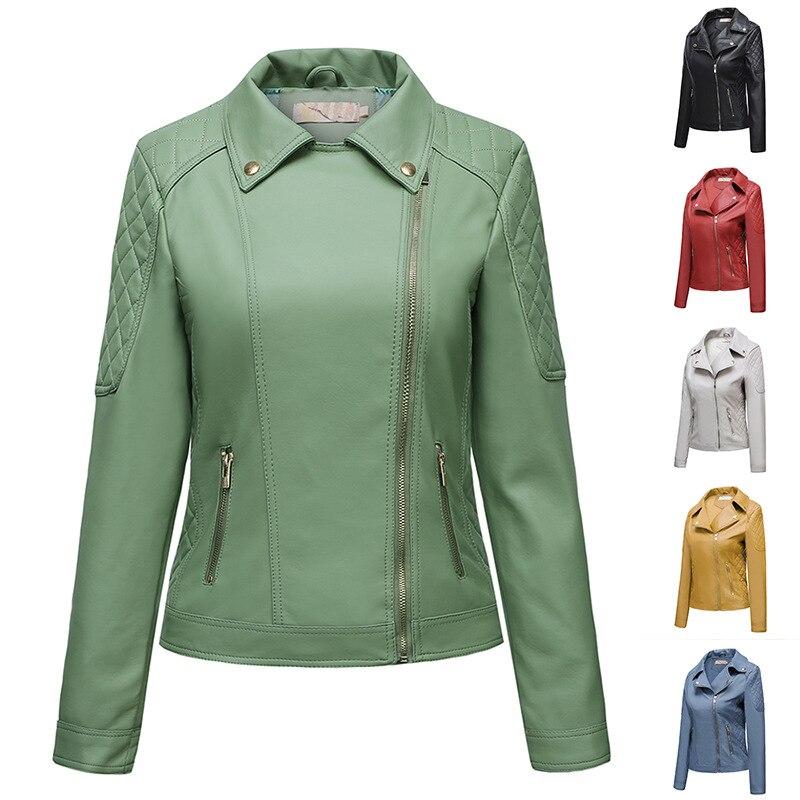 Куртка женская демисезонная из ПУ кожи, однотонная повседневная короткая Байкерская верхняя одежда с отложным воротником