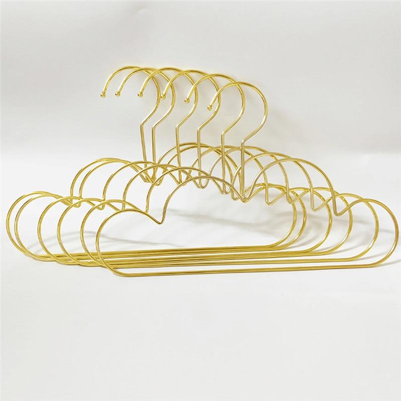 Cabides para Roupas do Bebê Deslizamento de Metal Cabides em Forma de Nuvem Criança Dourado Cabolsa Vestuário Armário Armazenamento Organizador Rack Gancho Parede Conjunto Não