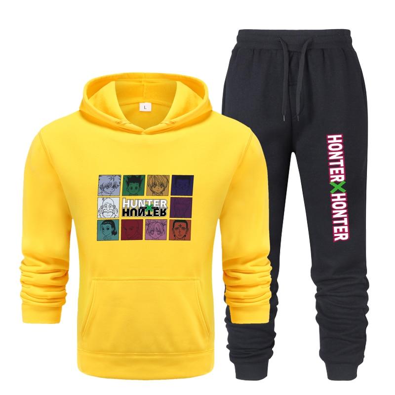 Новинка 2021, Мужская модная толстовка с капюшоном Urban Hunter, Свитшот и спортивные штаны, Мужская облегающая спортивная одежда из 2 предметов
