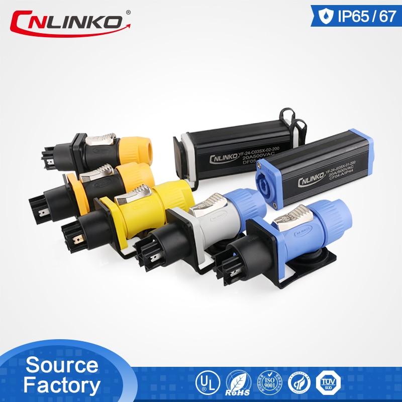 Cnlinko YF24 série 3 broches   Verrouillage rapide multicolore, prise et prise 20A, étanche pour connecteur de câble Audio/vidéo/haut-parleur/