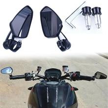 2 uds manillar de la motocicleta espejo retrovisor lateral para Honda GROM MSX125 CB50 Kawasaki Z125 Pro Z650 Z750 Z800 Z900 Z1000 ER6N ER6F